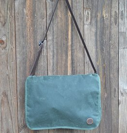 Duke Messenger Bag in Green Waxed Canvas