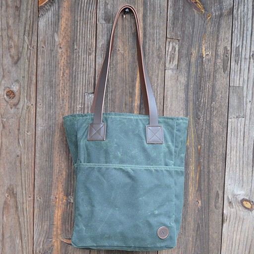 Biscotti Tote Bag in Green Waxed Canvas with Pinstripe Cypress Pocket