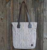 Biscotti Tote Bag in Canvas Pinstripe Walnut
