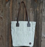 Biscotti Tote Bag in Canvas Pinstripe Cypress