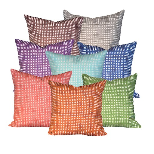 "steve mckenzie's Gingham Linen Pillow Oyster Background 20""x20"""