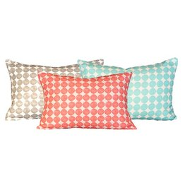 "steve mckenzie's Polka Dots Linen Pillow Oyster Background 14""x20"""