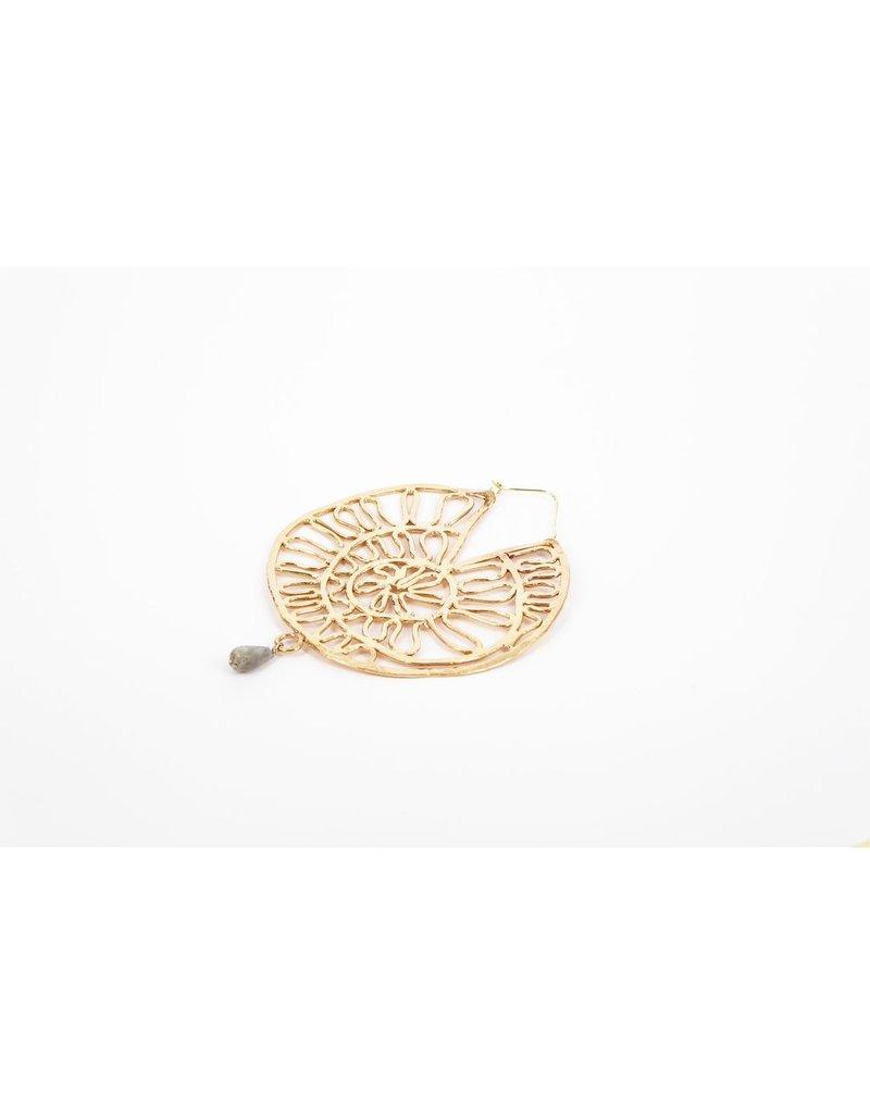 Iron by Miriam Nori Flower round hoop drop stone E