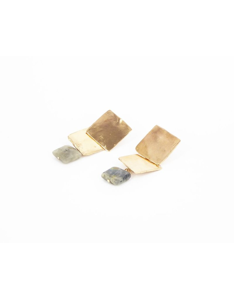 Iron by Miriam Nori Two square drop grey stone E