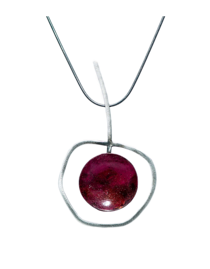 Aines Silver copper red cup pendant N