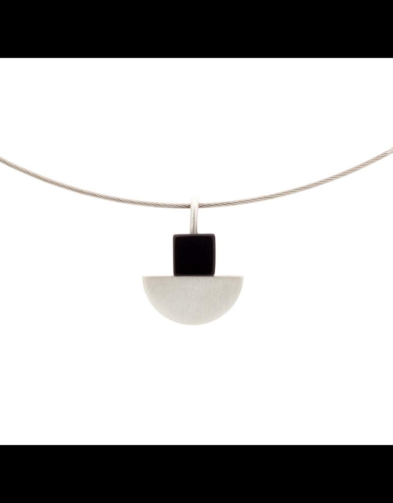 Aines Silver half sphere black square N