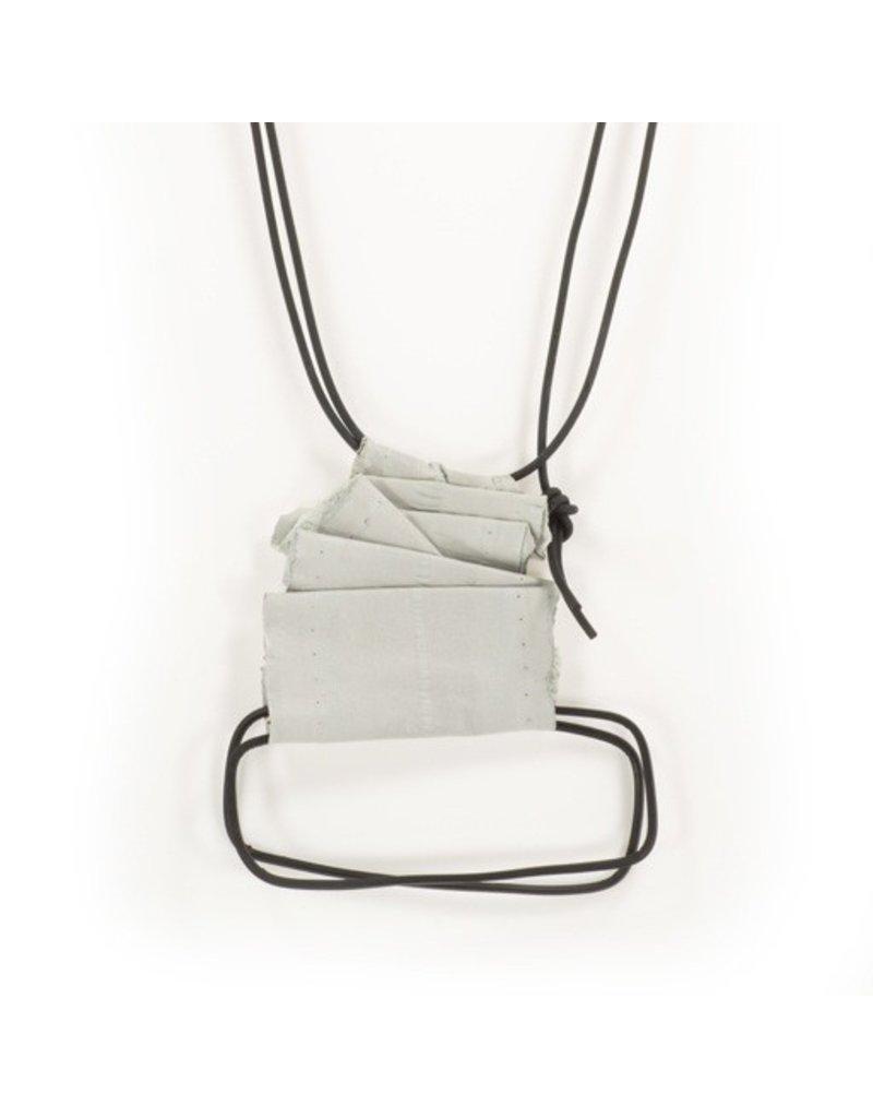 Marija Bajovska Long wire symetrical rectangle leather N