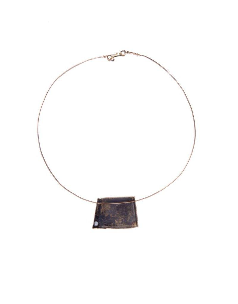 Iron by Miriam Nori SCULTURE brass pearl pendant N