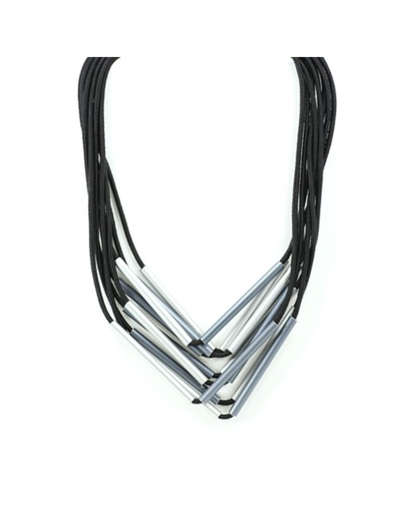 Christina Brampti Thin metal tubes silk cord N