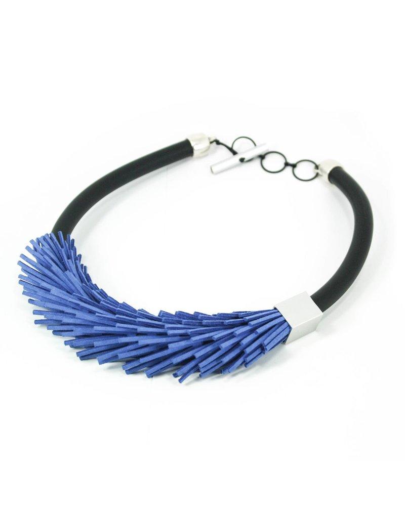Christina Brampti Leather pieces aluminium square rubber N, Blue,
