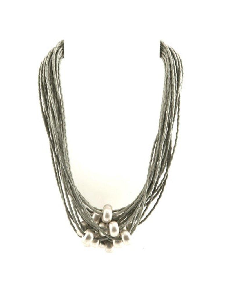 Carme Anglada Grey multi strand multi bead N