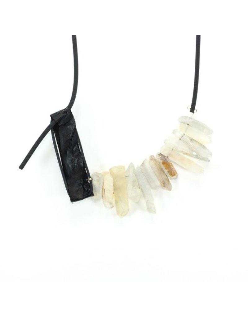 Marija Bajovska Crystal quartz eel skin rectangle rubber N