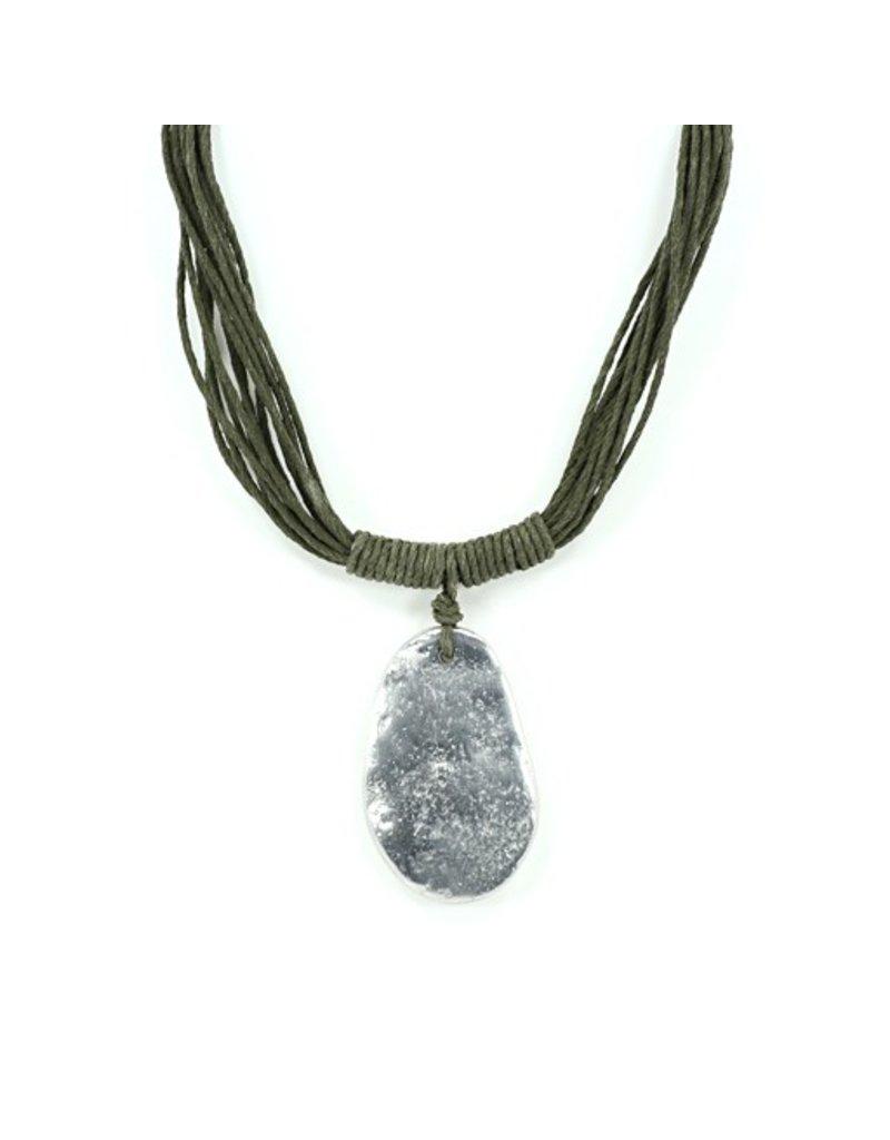 Carme Anglada Silver plate stone cord N
