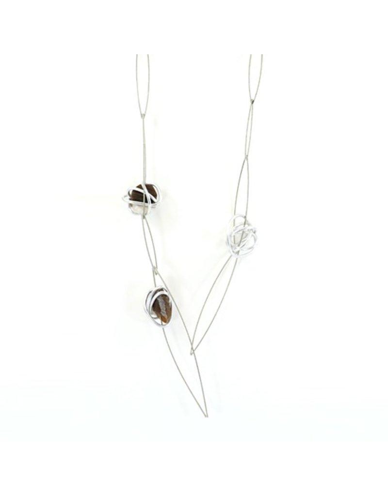 Marija Bajovska Twisted aluminium circle Agate crystal N