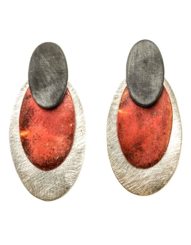Aines PENDIENTES oval oxi red silver E