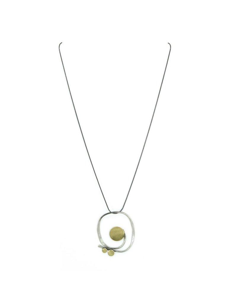 Aines RUEDA irregular silver gold circle pendant N