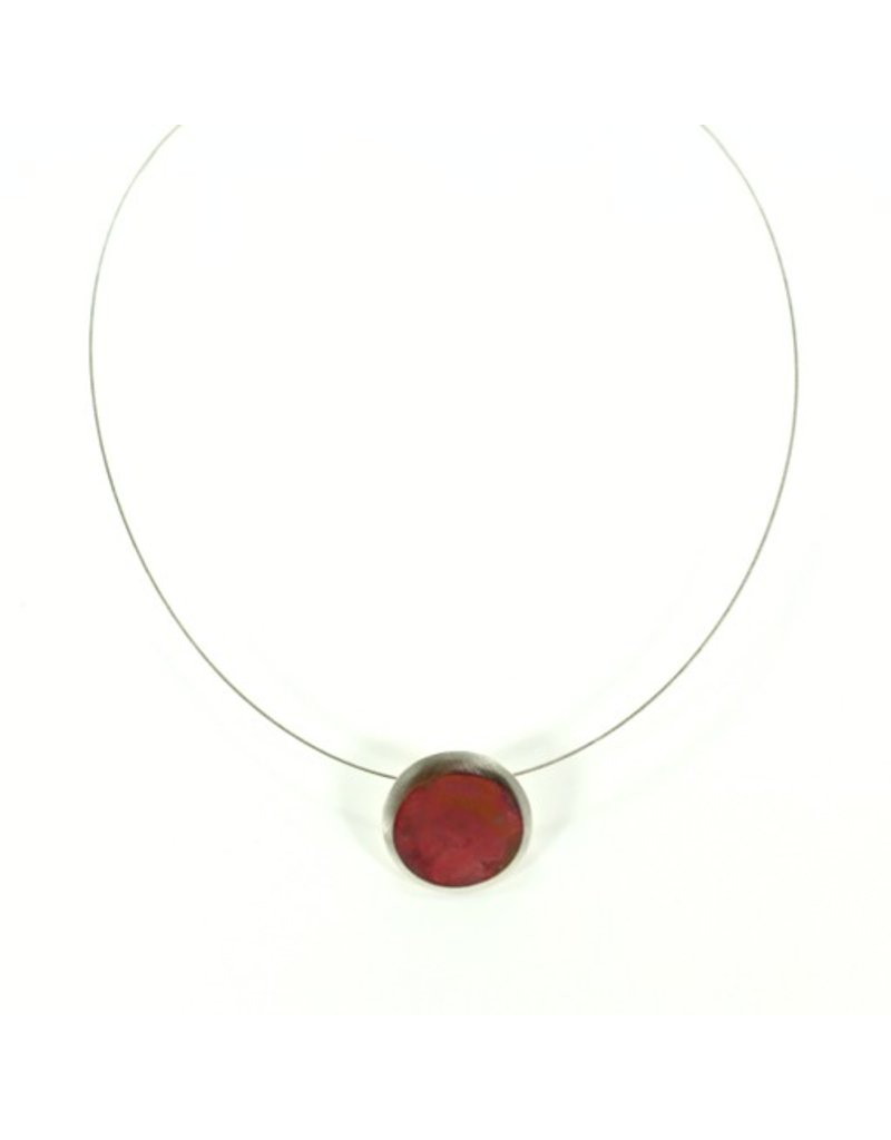 Aines DUNA silver copper circle pendant N