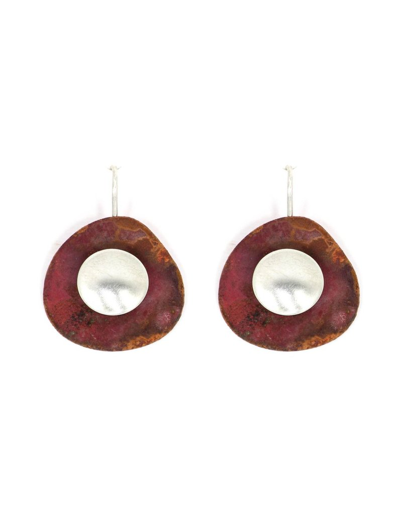Aines CUENCO iregular red oxi oval full circle silver E