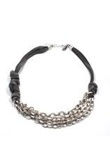 Carme Anglada Chain silver suede short N
