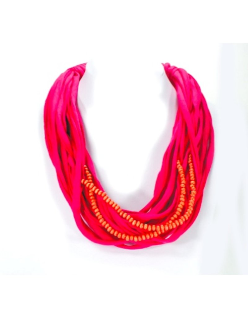 Ana Moreira MC1177 hot pink tshirt wood beads N