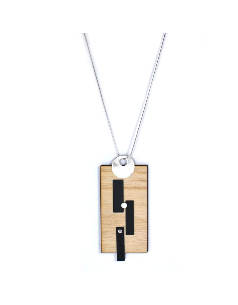 Aines Wood rectangle silver pendant N