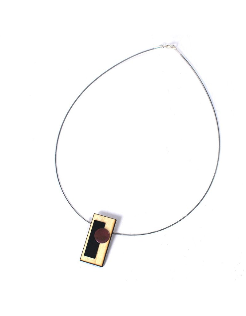 Aines Wood rectangle small silver pendant N