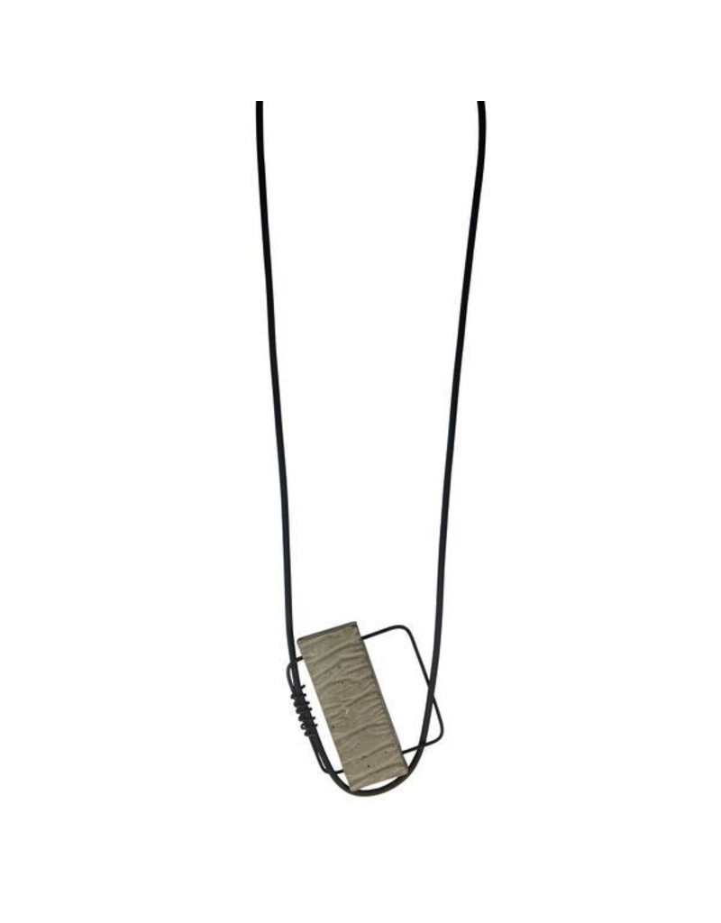 Marija Bajovska Concrete rectangle square wire pendant N