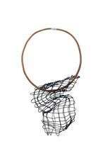 Marija Bajovska Shaped cross wire leather short N