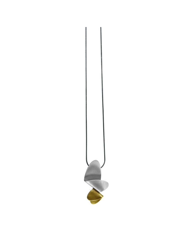 Aines Two overlapping oxi brass pendant N