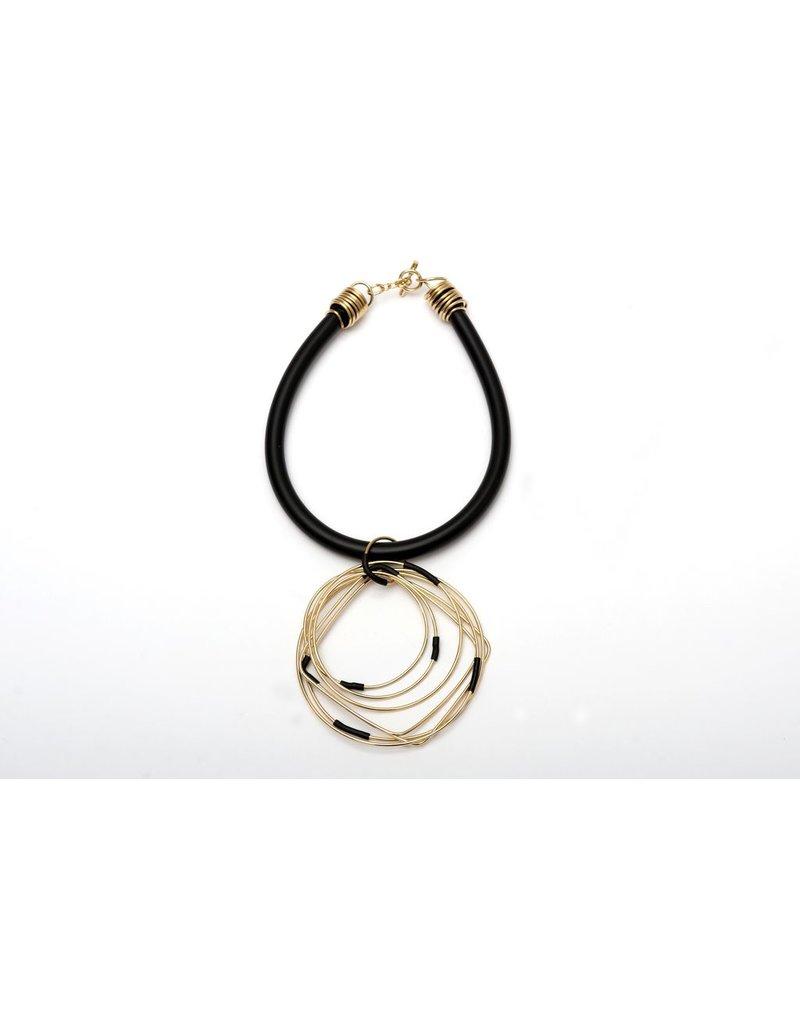 Iron by Miriam Nori PVC brass pendant geometric shapes N