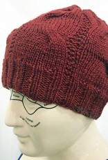 Knit Wear Tim the Cabled Touque in Silk Blend Yarn Scarlet