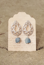 Earrings Cathedral Earrings - White Gold and Apatite