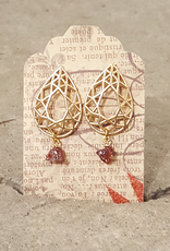 Earrings Cathedral Earrings - Gold and Garnet