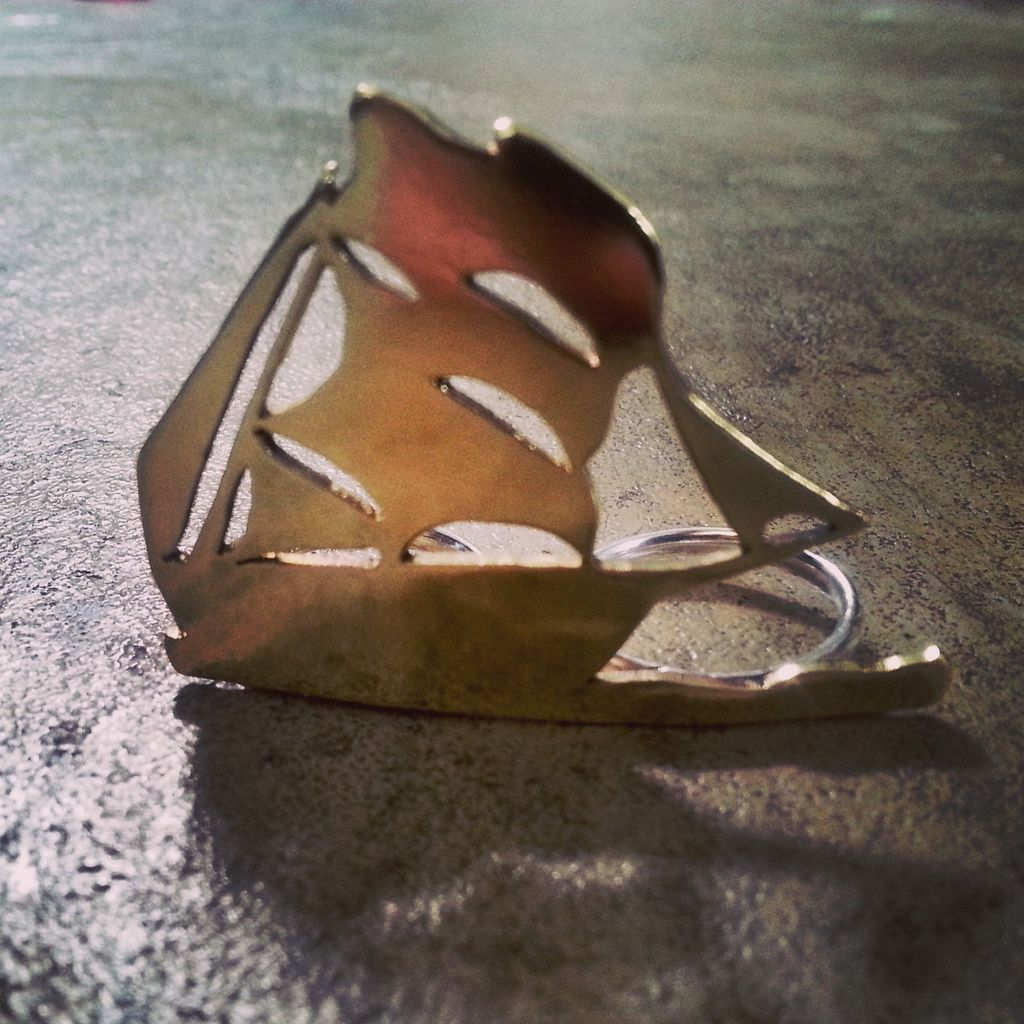 Rings Hand Cut Ship Double Finger Ring