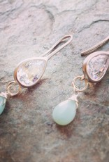 Earrings Sonja Large Cubic and Amazonite Drops
