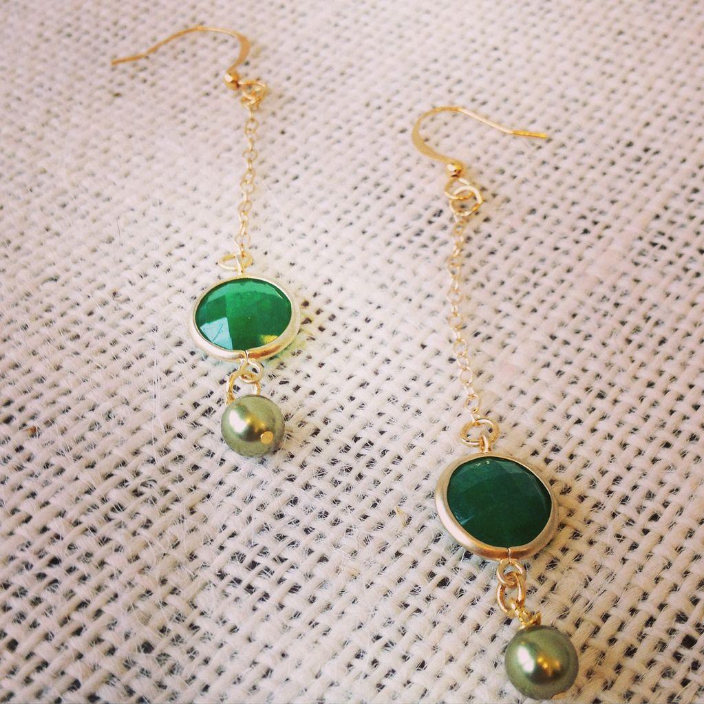 Earrings Drop Earrings with Glass and Swarovski Pearl