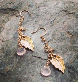 Earrings Leaf with Rose Quartz Earrings