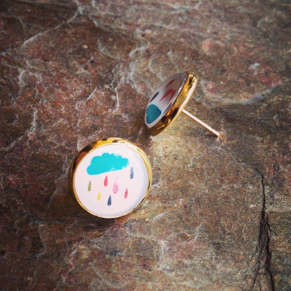Earrings Farina Glass Photo Studs