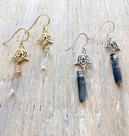 Earrings Fela Scrollwork Earrings with Raw Quartz
