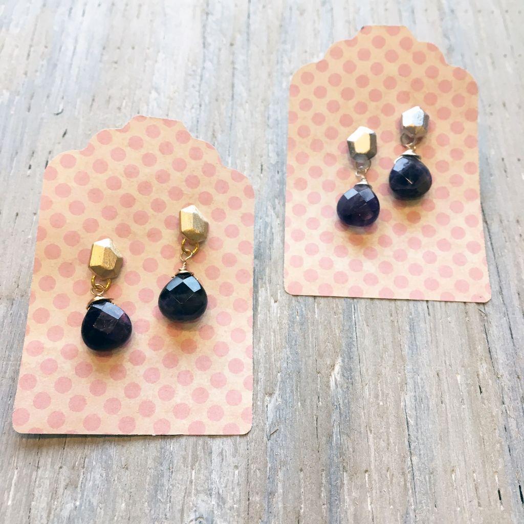 Earrings Mola Faceted Stud Earrings with Amethyst