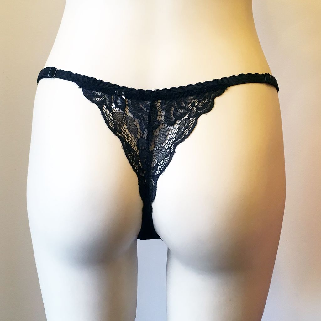 Underwear Bottoms Jessica Black Lace Back Thong