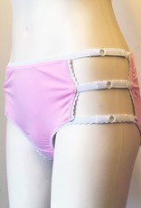 Underwear Bottoms Pink and White Mid Rise Cage Panties