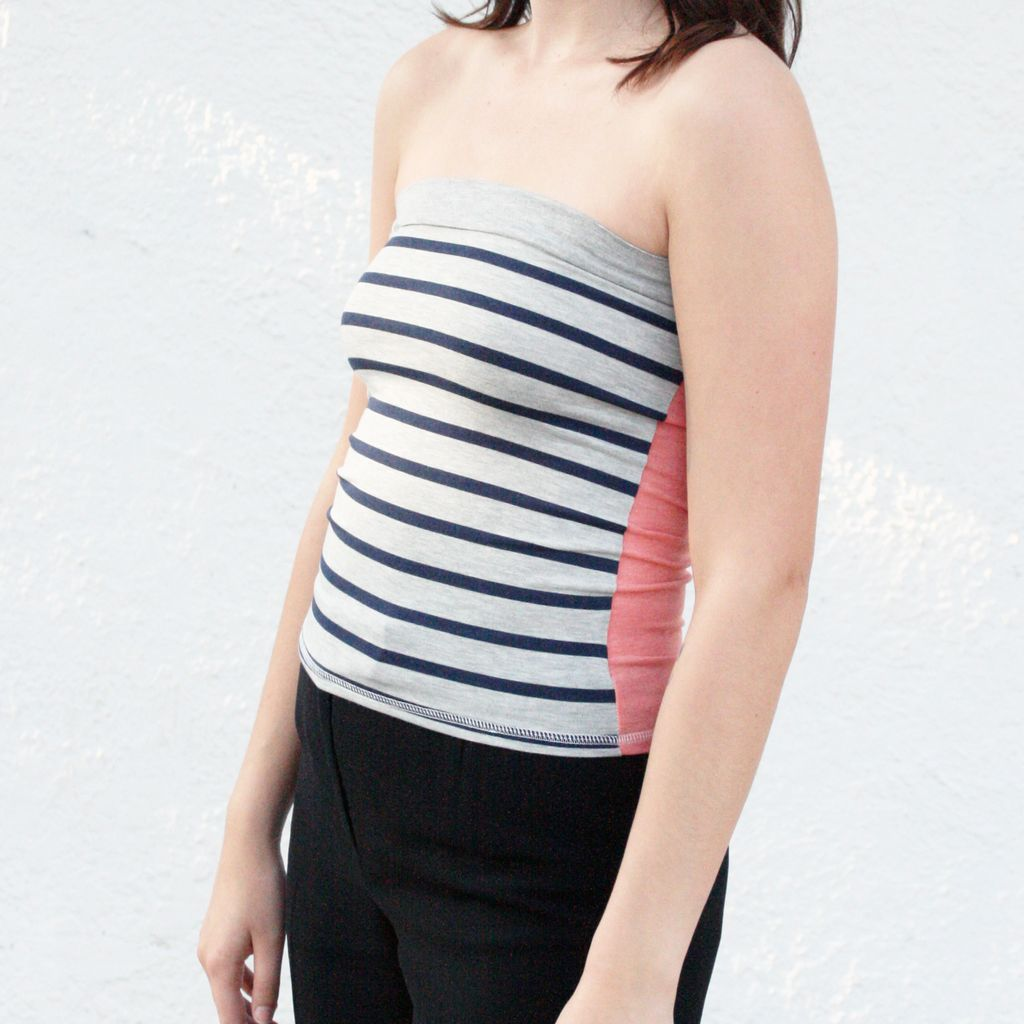 Tops Navy and Grey Sailor Striped Tube Top