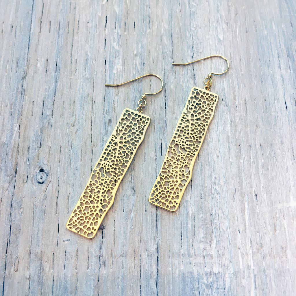 Earrings Organic Speckled Filagree Earrings