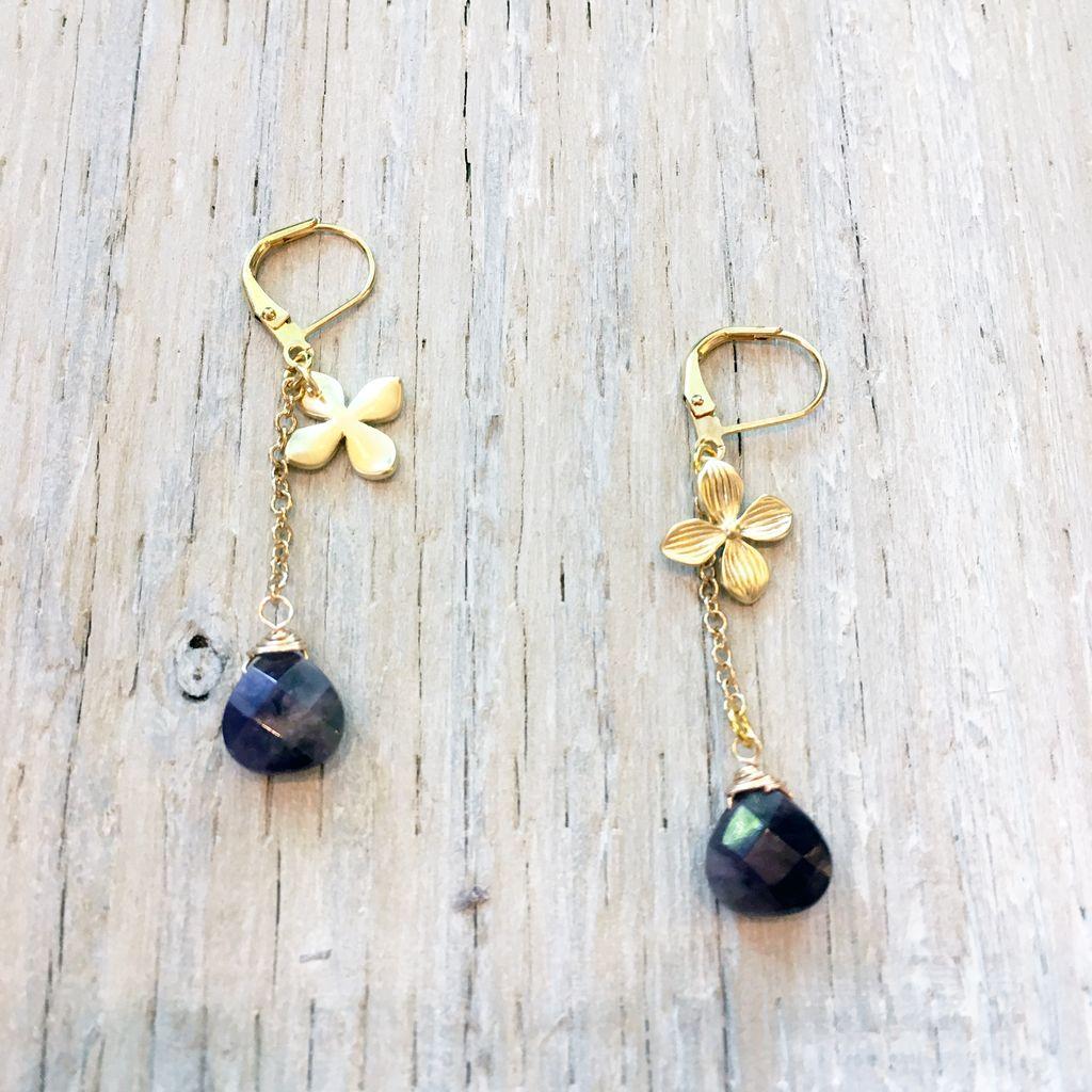 Earrings Dogwood Earrings with Amethyst Drop