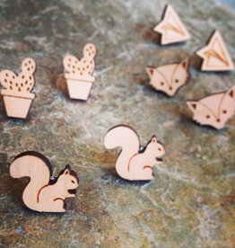 Earrings Curious Little Wood Cut Studs