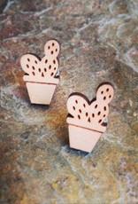 Earrings Curious Little Wood Cut Studs