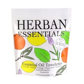 Herban Essentials 20 Individually Wrapped Assorted Towelettes - 5 Scents