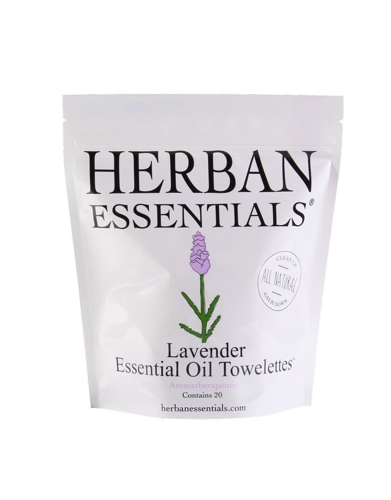 Herban Essentials 20 Individually Wrapped Lavender Towelettes