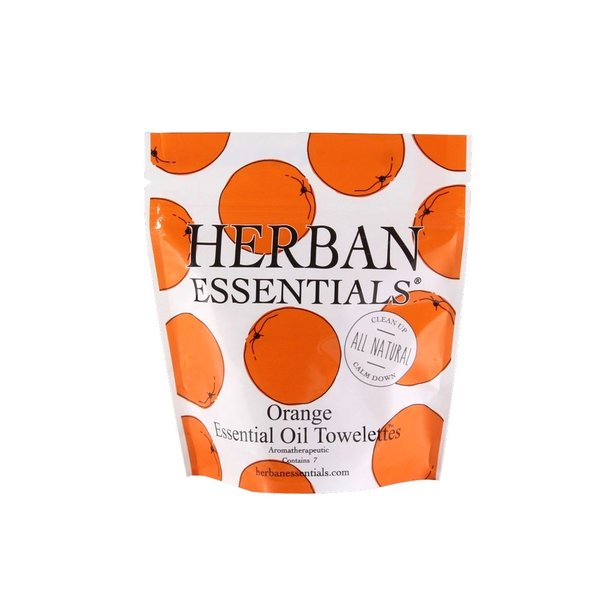 Herban Essentials 7 Individually Wrapped Orange Towelettes